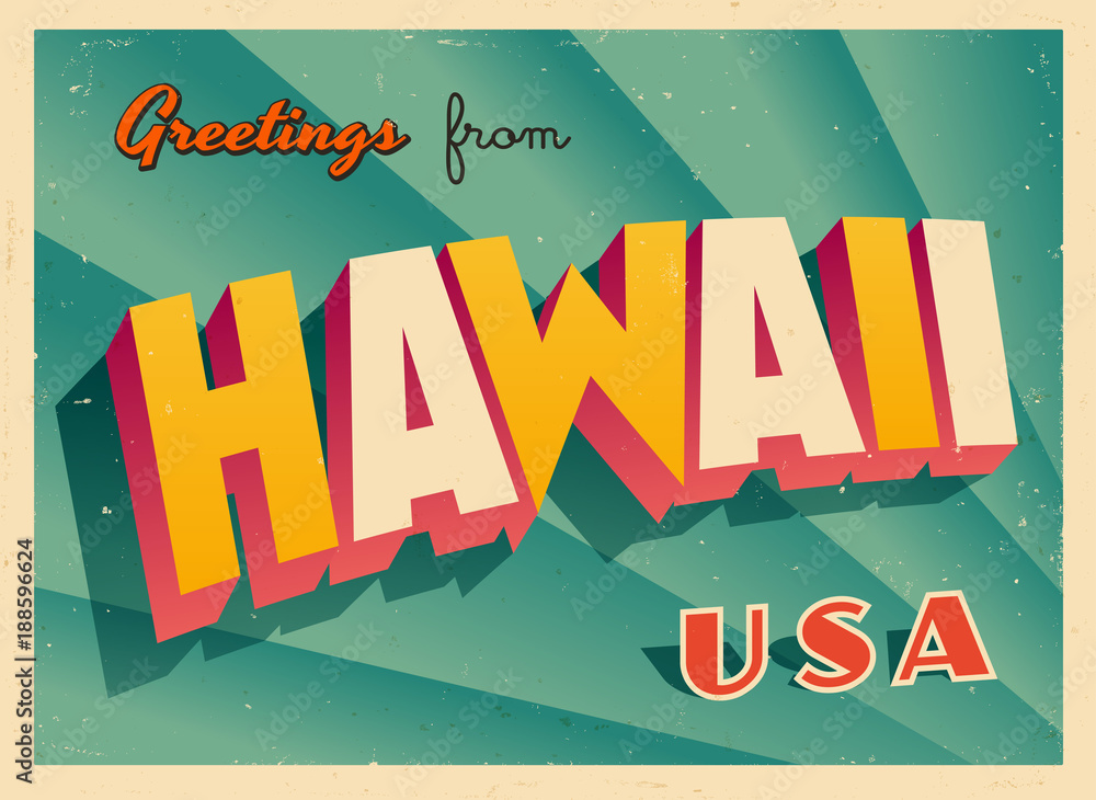 Fototapeta Vintage Touristic Greetings from Hawaii, USA Postcard - Vector EPS10. Grunge effects can be easily removed for a brand new, clean sign.