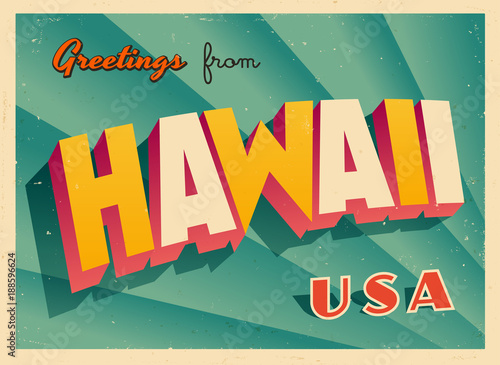 Vintage Touristic Greetings from Hawaii, USA Postcard - Vector EPS10. Grunge effects can be easily removed for a brand new, clean sign.