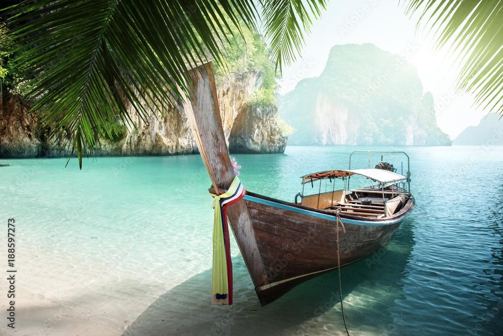 Fototapety, obrazy: long boat on island in Thailand