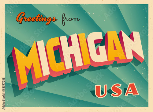 Photo Vintage Touristic Greetings from Michigan, USA Postcard - Vector EPS10