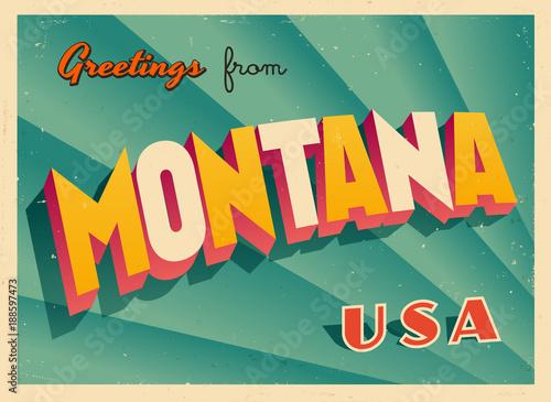 Vintage Touristic Greetings from Montana, USA Postcard - Vector EPS10 Canvas Print