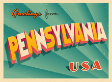 Vintage Touristic Greetings From Pennsylvania, USA Postcard - Vector EPS10. Grunge Effects Can Be Easily Removed For A Brand New, Clean Sign.
