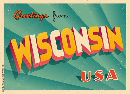 Vintage Touristic Greetings from Wisconsin, USA Postcard - Vector EPS10 Canvas Print