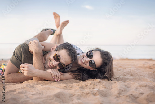 Fotobehang Artist KB Portrait of a cheerful couple resting on vacation