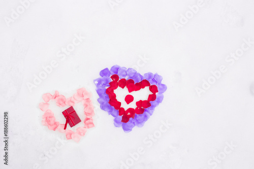 Flat Lay Photo Of Hand Gesture Half Heart Made Of Violet Purple