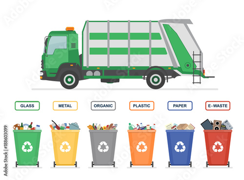 Fototapety, obrazy: Garbage truck and garbage cans isolated on white background. Sorting garbage. Ecology and recycle concept. Vector illustration.