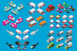 Isometric set of cars, vans, truck with ice cream, sedans, cars of the emergency services. Police vehicle, medical ambulance. Emergency helicopter.Flat vector.Off-road car.Hospital transport medical.