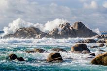 Big Waves Crashing On Rocks Coastline