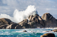 Big Waves Crashing On Rocks Coastline