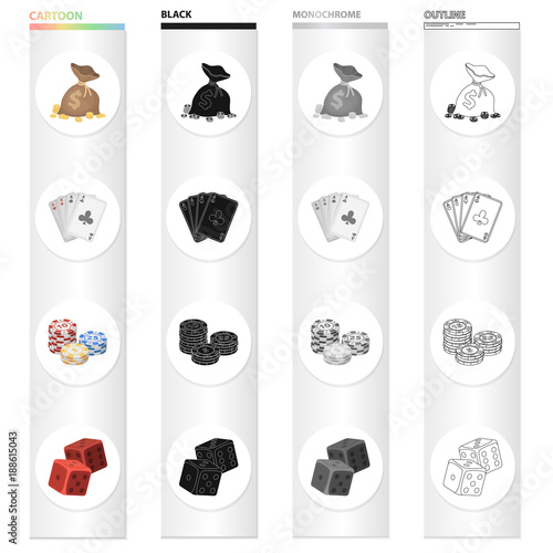 Платно  Casino and gambling cartoon black monochrome outline icons in set collection for design