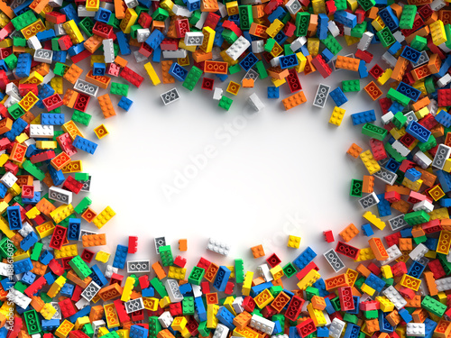 Obraz Colored toy bricks with place for your content - fototapety do salonu