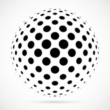 White 3D Vector Halftone Spher...