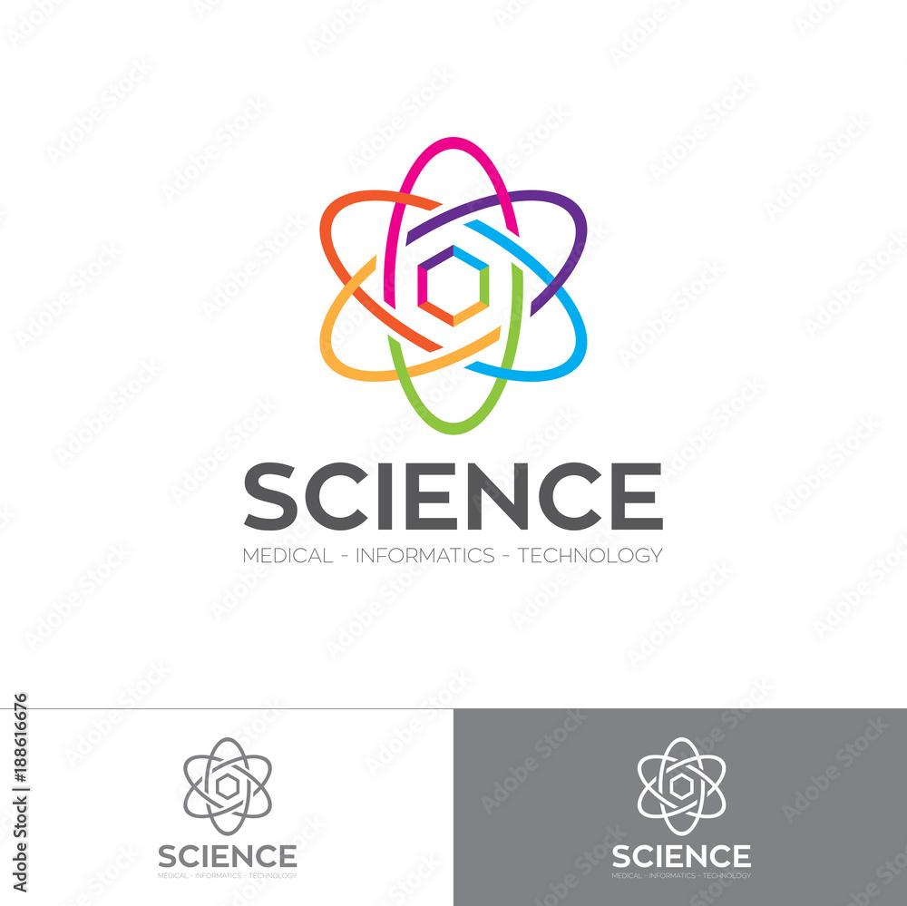 Fototapeta Abstract colorful energetic atom logo with hexagon
