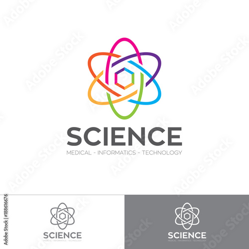 Photo Abstract colorful energetic atom logo with hexagon