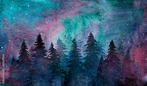 akwarela-swierkowy-las-na-gwiazdzistym-nieba-tle-zorza-polarna-i-drzewa-sylwetki