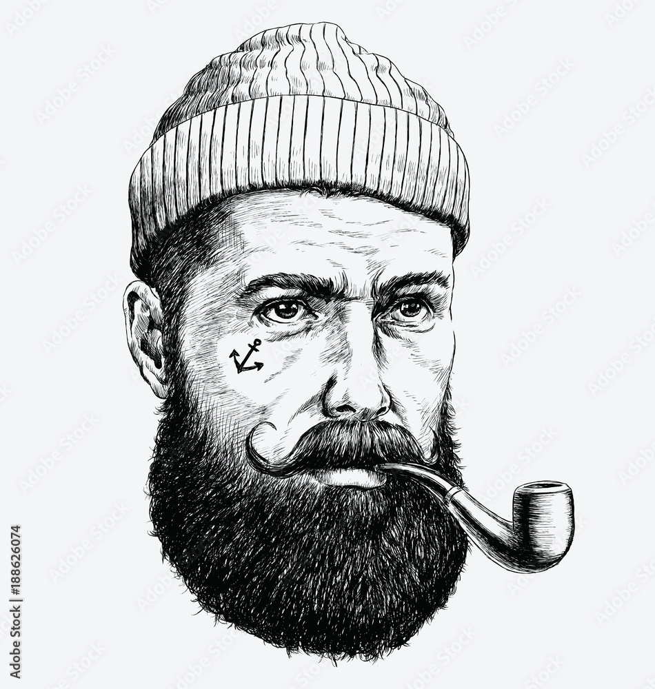 Fototapeta Hand Drawn vintage hipster sailor with thick beard and pipe