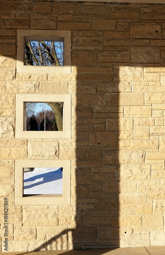 Fotografie, Obraz  Stone and Shadows - Building Abstraction