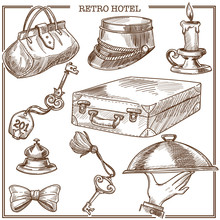 Retro Hotel Guest Travel Items And Service Staff Accessory Vector Sketch Icons