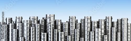 Reinforcements steel bars in row Canvas Print