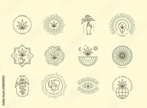 Fényképezés Cannabis emblem set on beige background