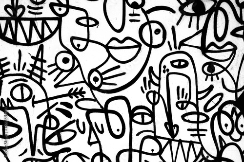 black-and-white pattern graffiti on the wall Tablou Canvas