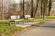 Bench In A Park In Winter On S...