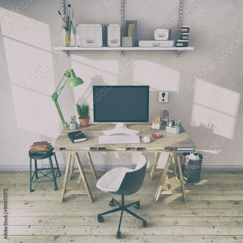 Skandinavisches Nordisches Arbeitszimmer Mit Einem Schreibtisch
