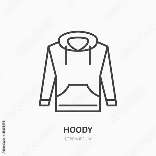 Hoodie, sweater flat line icon  Casual apparel store sign