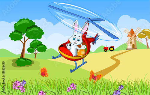 Montage in der Fensternische Flugzeuge, Ballons Easter greeting card hare delivery painted eggs helicopter landscape mountains fields tractor mill trees trees cartoon style