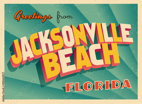 Photo  Vintage Touristic Greeting Card From Jacksonville Beach, Florida - Vector EPS10