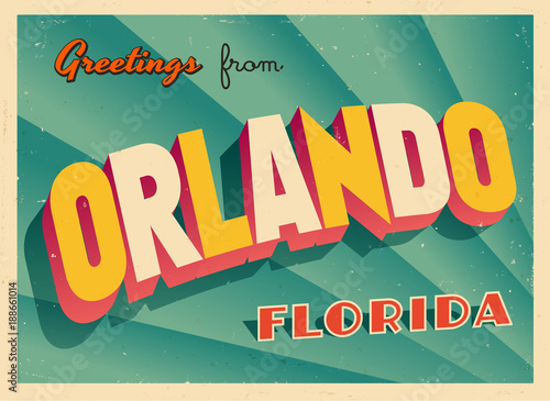 Fotografia  Vintage Touristic Greeting Card From Orlando, Florida - Vector EPS10