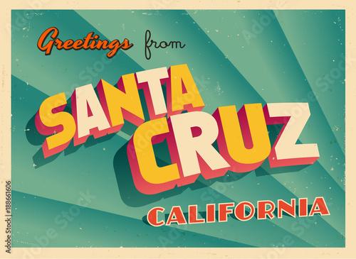 Vintage Touristic Greeting Card From Santa Cruz, California - Vector EPS10 Canvas Print