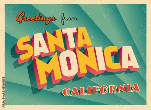 Tela Vintage Touristic Greeting Card From Santa Monica, California - Vector EPS10