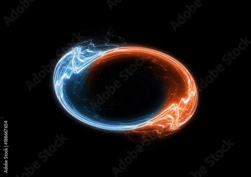 Fire and ice circle electrical lightning, swirling plasma Canvas Print