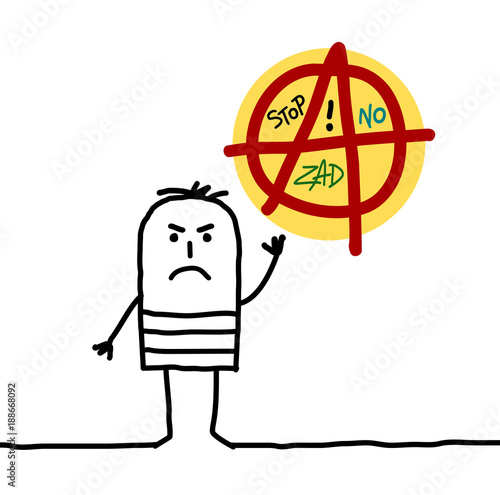 Cartoon Anarchist Man Canvas Print