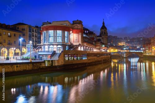 Poster Berlin view of ribera market at morning in Bilbao, Spain