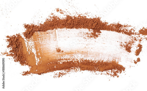 Cocoa powder pile isolated on white background