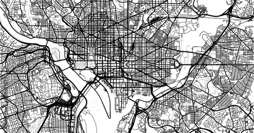 Obraz na plátně Urban vector city map of Washington D.C, USA