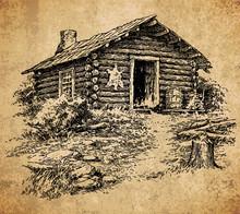 Old Cabin - Vintage Engraving ...