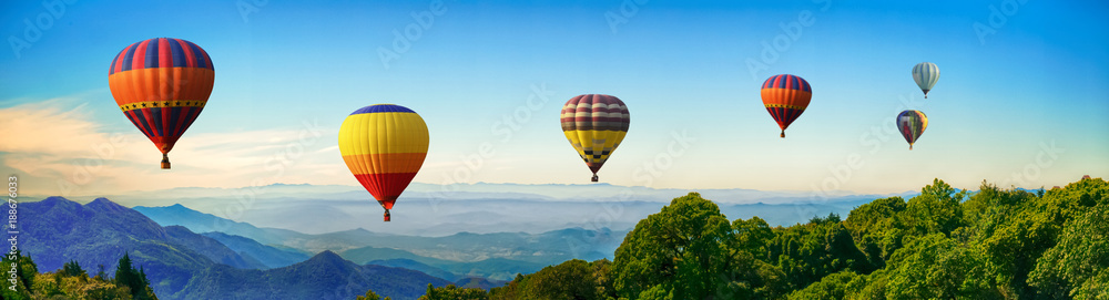 Fototapety, obrazy: Panorama of mountain with hot air balloons on morning at Thailand.