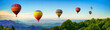 canvas print picture - Panorama of mountain with hot air balloons on morning at Thailand.