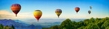 Fototapeta Fototapety z naturą - Panorama of mountain with hot air balloons on morning at Thailand.