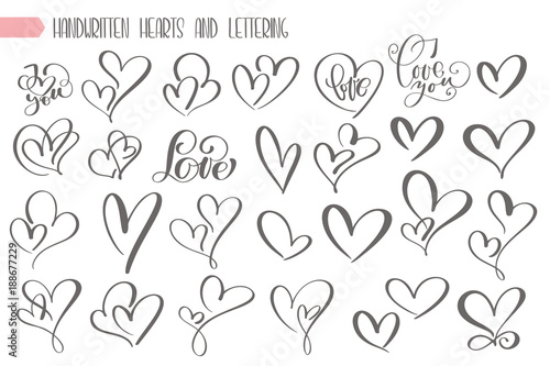 Big set valentines day hand written lettering heart love to design poster, greeting card, photo album, banner, vintage calligraphy vector illustration collection