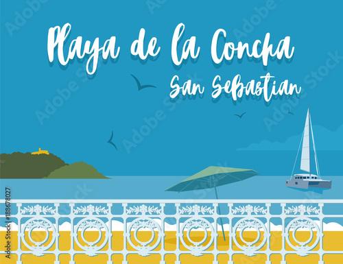 Canvas Print Pplaya de la Concha - San Sebastian