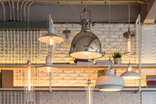 Modern Stainless Steel Ceiling Lamp Light Bulb Interior For Office Building Or Home And Living Decorating. Concept Vintage Contemporary