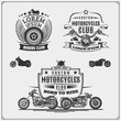 Set of emblems of bikers club. Vintage style. Monochrome design.