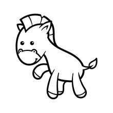 Cartoon Horse Black Line White...