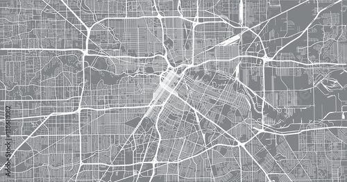 Fototapeta Urban vector city map of Houston, Texas, USA