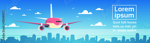 Airplane Flying Over City Skyscrapers Plane In Sky Cityscape Skyline Background Canvas Print