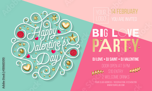 Obraz Valentine Day party invitation design template of golden text and heart or flowers decoration. Vector Happy Valentines Day party celebration invite of golden glitter star confetti on pink background - fototapety do salonu